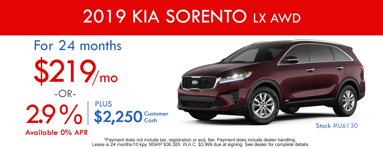 2019 KIA Sorento Lease and Specials in Centennial Colorado