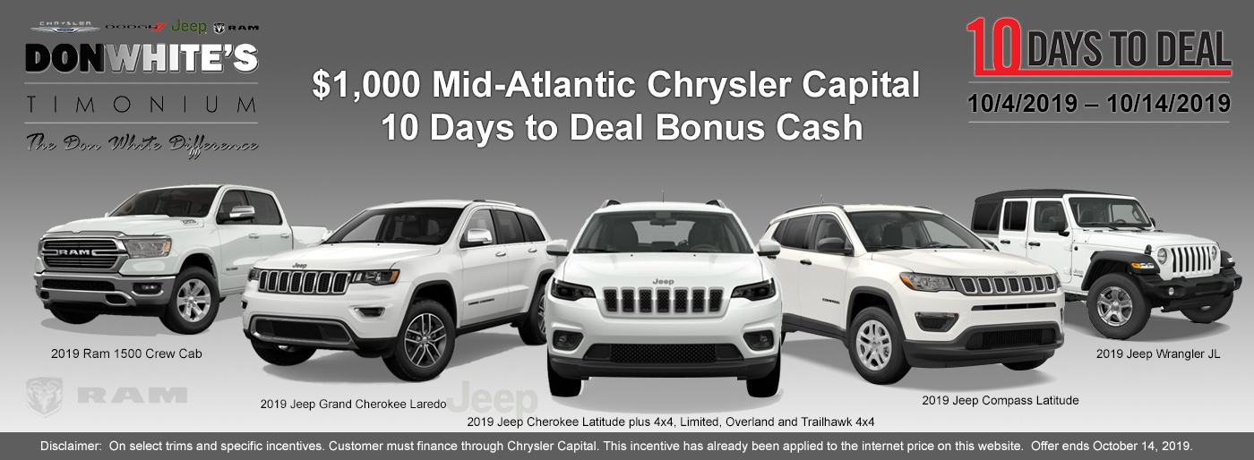 10 Days To Deal On New Chrysler Dodge Jeep Ram L Cockeysville Md
