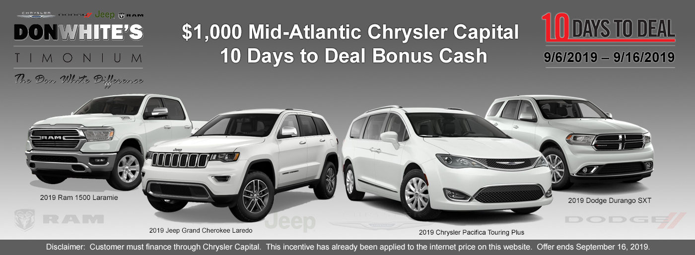 10 Days To Deal On 2019 Chrysler Dodge Jeep Ram Chrysler News